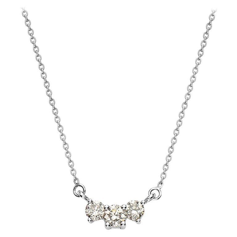 Diamond Horizontal Pendant Gold Necklace For Sale