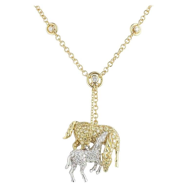 Diamond Horse and Pony Pendant Yellow and White Diamonds 4.25 Carat For Sale