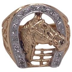 Diamond Horseshoe 14 Karat Yellow Gold Vintage Horse Ring