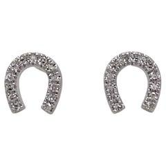 Diamond Horseshoe Stud Earrings .06 Carats, 14K White Gold Dainty Diamond Studs