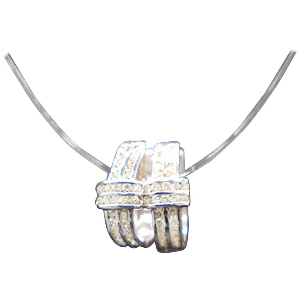 Diamond Huggie Drop Earrings .75 Carat White Gold