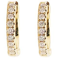Diamond Huggie Earrings 14 Karat Gold .15 Carat Diamond Mini Hoops Ear Huggies