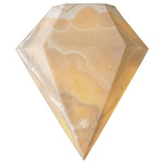Diamond I, Alabaster Sconce Sculpted by Omar Chakil