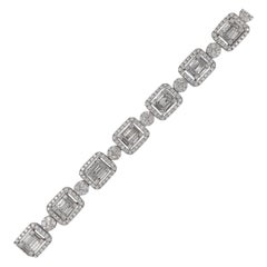 Diamond Illusion Bracelet 10.04 Carat 14 Karat White Gold