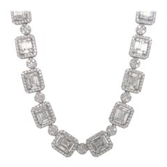Diamond Illusion Necklace 28.60 Carat 14 Karat White Gold