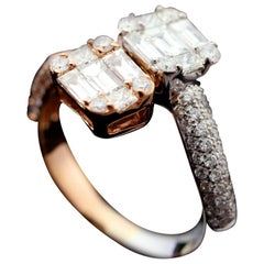 Diamond Illusion Two-Tone Fashion Ring in 18 Karat Gold