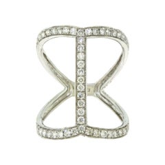 Diamond in 18 Karat White Gold Long Finger Ring