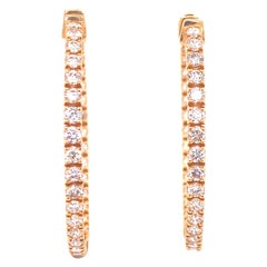Diamond In and Out Hoop Earrings 14 Karat Yellow Gold