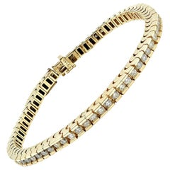 Diamond In-Line Tennis Bracelet 14 Karat Yellow Gold