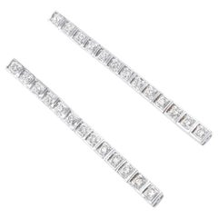 Diamond in Square Shaped Setting Long 18 Karat White Gold Tennis Earrings