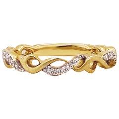 Diamond Infinity Designer Band 14 Karat Gold Stackable Diamond Wedding Band