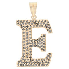 Diamond Initial E Pendant, 18 Karat Yellow Gold Large Round Brilliant 1.90 Carat