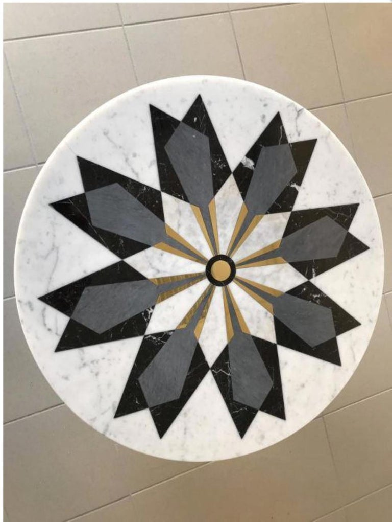 Italian Marble Center Table in Carrara Marble with Inlay design in brass  For Sale