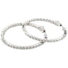 Diamond Inside/Outside Hoop 14 Karat White Gold Earrings