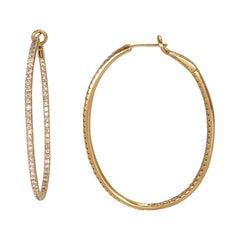 Diamond Inside-Outside Hoop Earrings in 14 Karat Yellow Gold