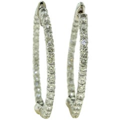 Diamond Inside Outside Huggie Hoop Earrings in White Gold
