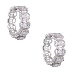 Diamond Invisible Set Halo Hoop Earrings