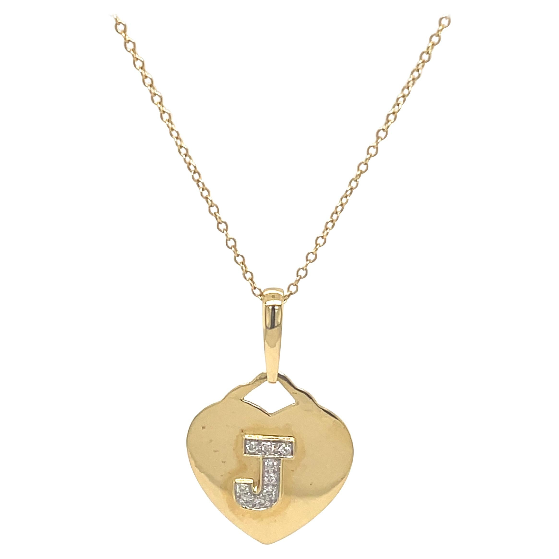 "Diamond ""J"" Heart Pendant Necklace 18 Karat Yellow Gold"