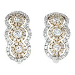 Diamond J-Hoop Earrings, 14 Karat White Gold Halo Round Cut .76 Carat