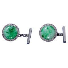 Diamond Jade Platinum Cufflinks Early 20th Century