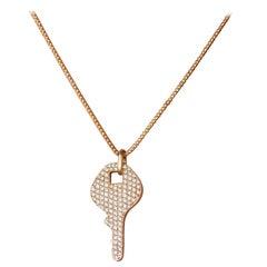 Diamond Key Necklace, Yellow Gold