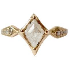 Diamond Kite Art Deco Inspired 14 Karat Gold Ring