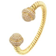 Diamond Knob Rope 18 Karat Yellow Gold Bangle