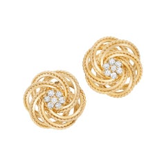 Diamond Knotted Earrings in 14k Yellow Gold
