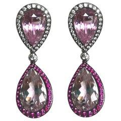Diamond Kunzite and Pink Sapphire White Gold 18 Karat Earrings
