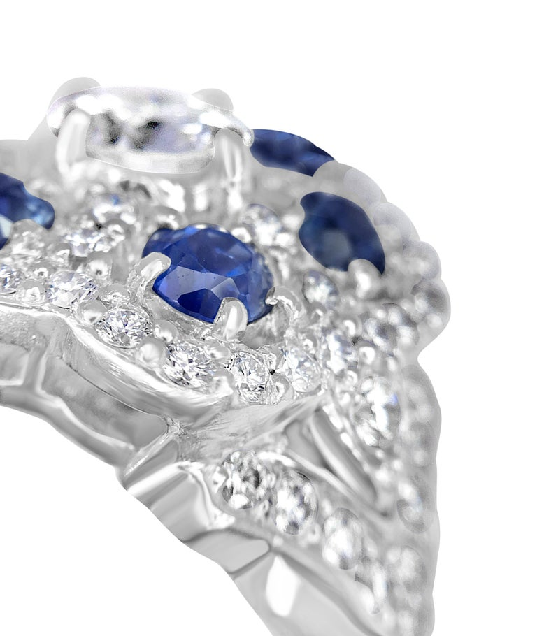 Contemporary Diamond Lace Sapphire Ring For Sale