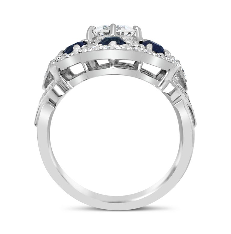 Round Cut Diamond Lace Sapphire Ring For Sale