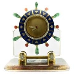 Diamond Lapis Carved Coral and Jade Rock Crystal 18 Karat Gold Ship Wheel Clock