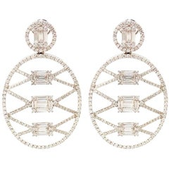Diamond Baguette and Brilliant Cut Oval Drop Earrings
