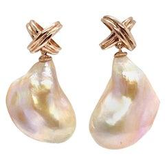 Diamond Large Fresh Water Pearl Earrings Baroque Certified
