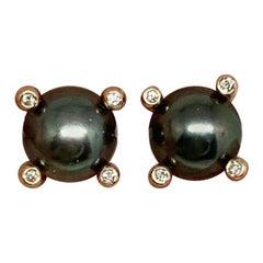 Diamond Large Tahitian Pearl Earrings 14k Rose Gold Certified