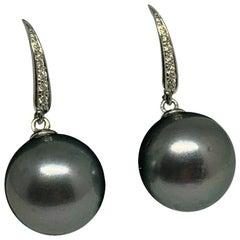 Diamond Large Tahitian Pearl Earrings 18k Gold Certified
