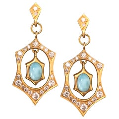 Diamond Larimar Gold Earrings by Lauren Harper