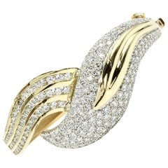 Diamond Leaf Design 18 Karat Gold Bangle Bracelet
