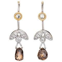 Diamond Leaf Drop Earrings Estate 14k Gold Cognac Briolette Cut Vintage Jewelry