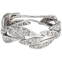 Diamond Leaf Eternity Ring Platinum Band Vintage Fine Jewelry Estate