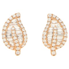 Diamond Leaf Stud Earrings Set in 18 Karat Rose Gold