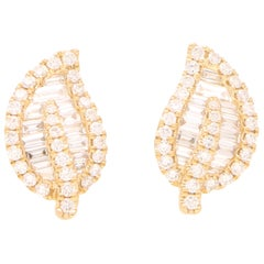 Diamond Leaf Stud Earrings Set in 18 Karat Yellow Gold
