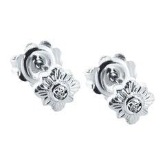 Diamond Floral Stud Earrings