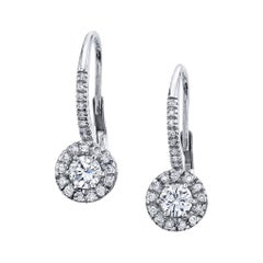Diamond Lever Back Earrings, .70 Carat Total Weight, 18 Karat White Gold