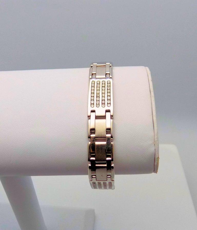 Women's or Men's Diamond Line Bracelet For Sale