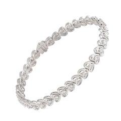 Diamond Line Heart Shaped Tennis Bracelet 1.97 Carat