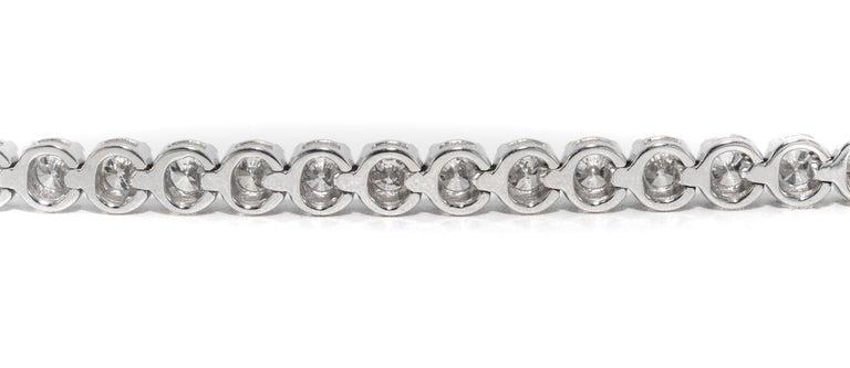 Diamant Tennisarmband, 6,83 Karat, 18 Karat Weißgold 4