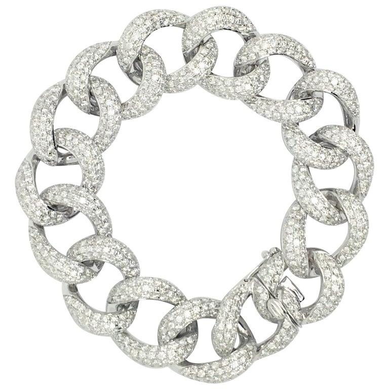 Diamond Link 18 Karat White Gold Bracelet For Sale