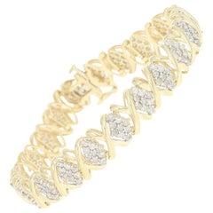 Diamond Link Bracelet, 10 Karat Yellow Gold Clusters Round Brilliant 4.00 Carat