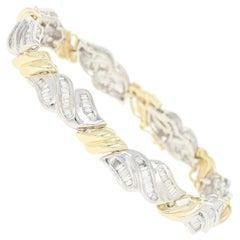 Diamond Link Bracelet, 14 Karat White Gold Baguette 4.00 Carat